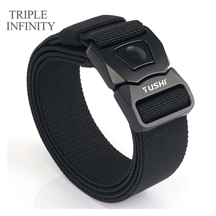 TRIPLE INFINITY Elastic Jeans Belt For Men Hard Alloy Pluggable Buckle Work Tactical Belts Comfortable Male Canvas Trouser Belt