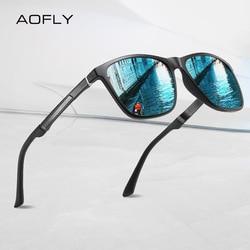 AOFLY BRAND Polarized Men's Sunglasses Aluminum magnesium Temple Anti-Glare Mirror Lens Driving Square Sun glasses Male UV400