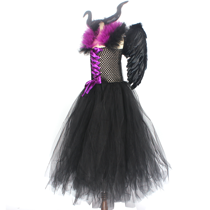 Hf3cea4e104b841dc8438c354d9334fe1e Maleficent Black Gown Tutu Dress with Deluxe Horns and Wings Girls Villain Fancy Dress Kids Halloween Cosplay Witch Costume