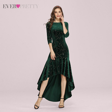 Prom-Dresses Ever Pretty Mermaid Plus-Size High-Low Party-Gowns Velvet Long-Sleeve Formal