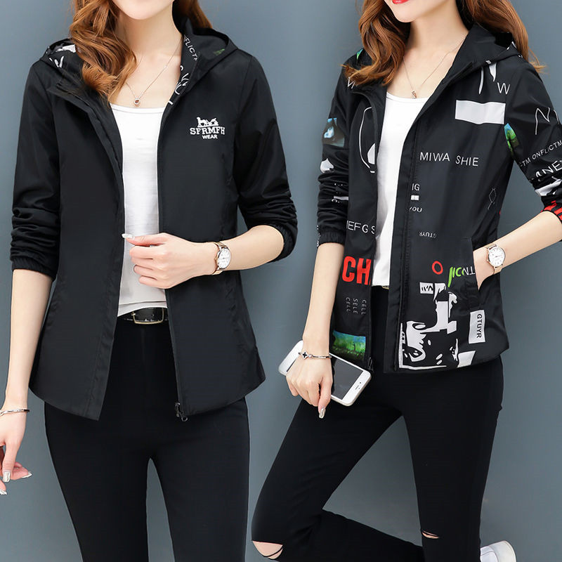 Women Hooded Printed bomber   jacket   Causal windbreaker Ladies   Basic     Jackets   Fashion plus size Wear both sides Lightweight   Jacket
