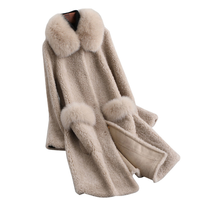Real Fur Coat Fox Fur Collar 100% Wool Jacket Spring Autumn Coat Women Clothes 2020 Korean Vintage Tops Manteau Femme ZT3788