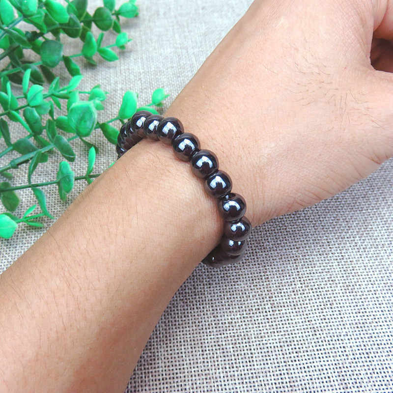 1 шт. унисекс роскошный похудение браслет вес потери круглый черный камень браслет для магнитотерапии здравоохранения