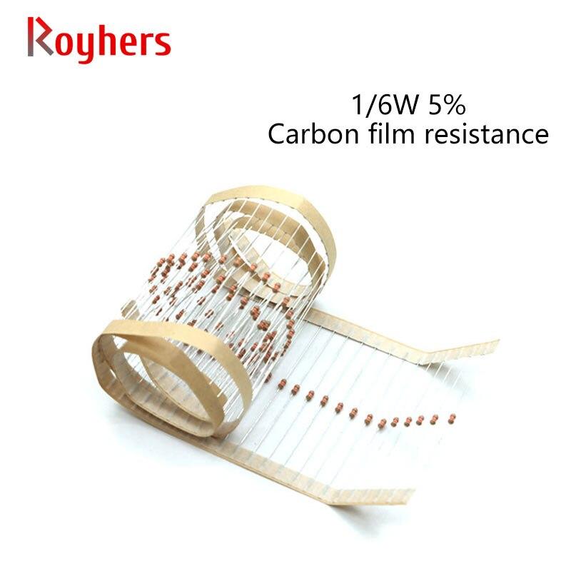 Набор карбоновых пленочных резисторов 0R-22M 100 допуск 47R 68R 91R 120R 160R 200R 270R 360R 510R 2 Ом, сопротивление электроники, 5% шт., 1/6 Вт