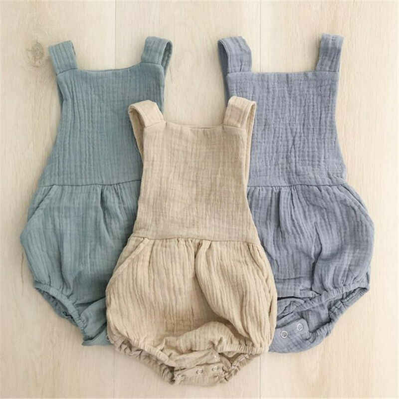 Pudcoco Newborn Baby Boy Girl Clothes Kids Sleeveless Cotton and Linen Bodysuit Backless Summer Jumpsuit Outfits Sleepwear