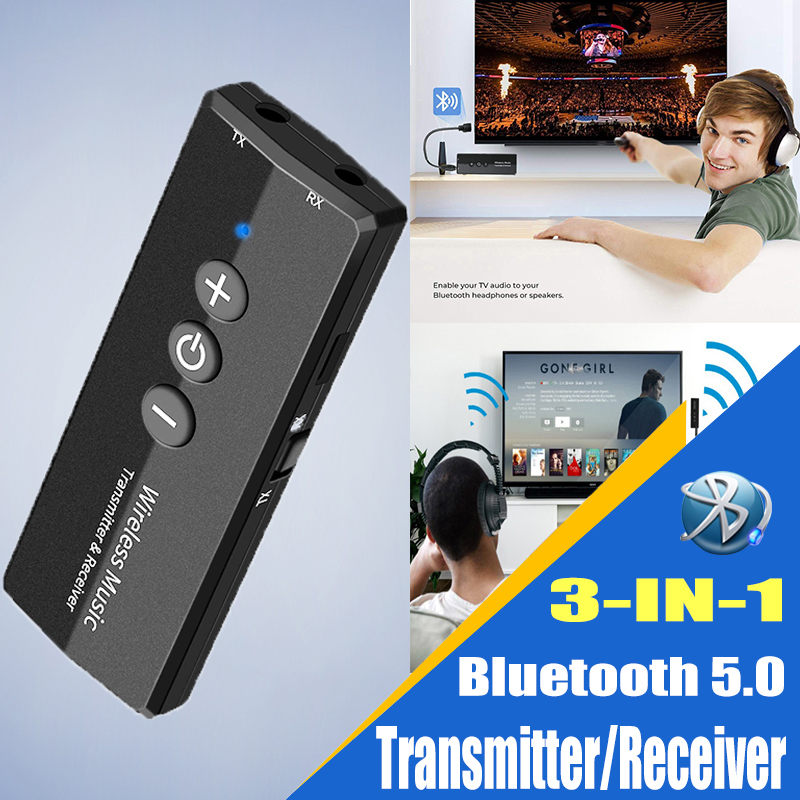 Bluetooth Audio Receiver Transmitter V5.0 Wireless Audio EDR Dongle 3.5mm Jack Aux 3 in 1 Adapter for Home TV Headphone PC Car