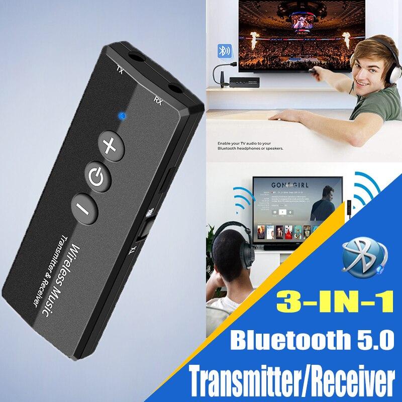 Receptor de áudio bluetooth transmissor v5.0 sem fio áudio edr dongle 3.5mm jack aux 3 em 1 adaptador para casa tv fone de ouvido do carro