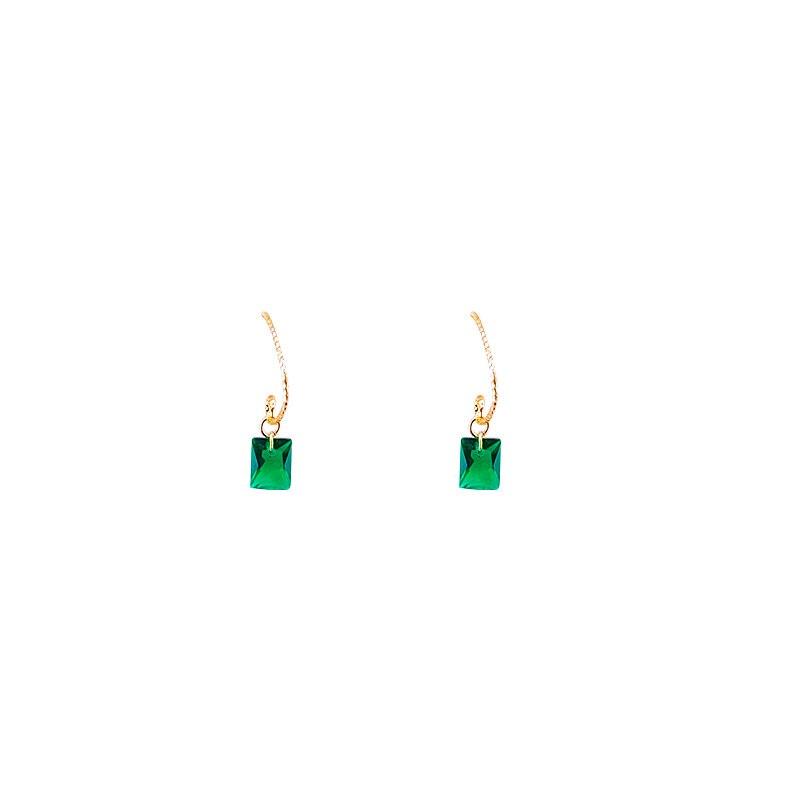 Vintage Water Drop Fresh Green Crystal Stone Long Earrings Metal Hollowe for Women Dangle Earrings Statement Jewelry
