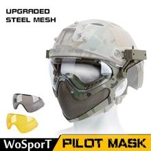 WosporT  Dual-mode Tactical Equipment Upgrade Steel Mesh Pilot maskVersion Shock Resistance Game Protector