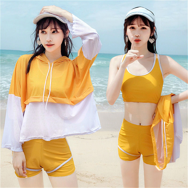 New Solid Bikini Set Three-piece Female Swimsuit Swimwear Korean Style Hot Spring Bathing Suit