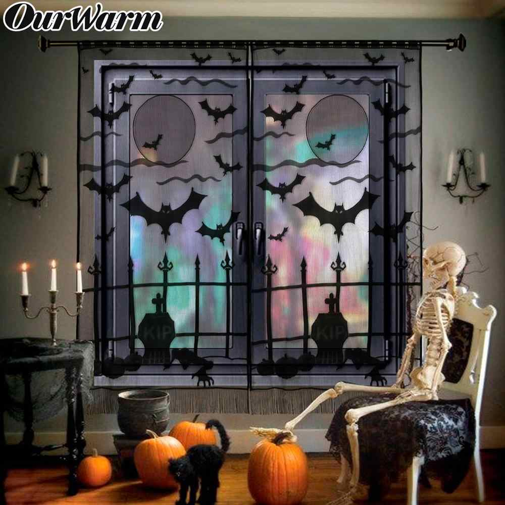 Ourwarm Halloween Party Lace Spiderweb Bat Door Window Curtain Hanging Horror Props Party Event Supplies Halloween Decorations