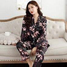 Autumn Women Pajamas Faux Silk Sleepwear Satin Pajamas Set Long Sleeves Flower Print  2 Piece Homewear Summer Pajama New 2020