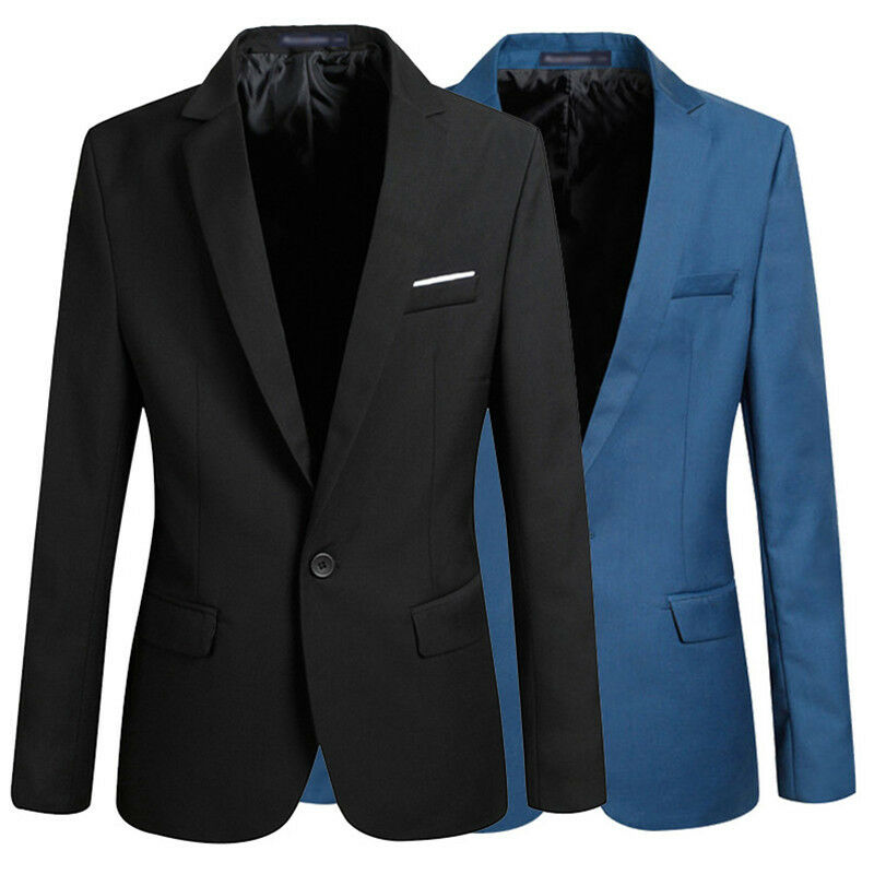 Hot sale Mens Korean slim fit arrival cotton blazer Suit Jacket black blue  plus size s to 4XL Male blazers Mens coat Wedding 2