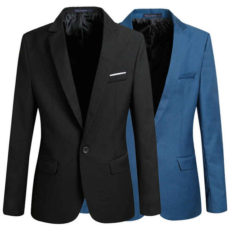 Mens Coreano slim fit blazer masculino cotone del Vestito della giacca sportiva Giacca Ufficio nero blu più il formato Maschio giacche Mens del cappotto di Nozze
