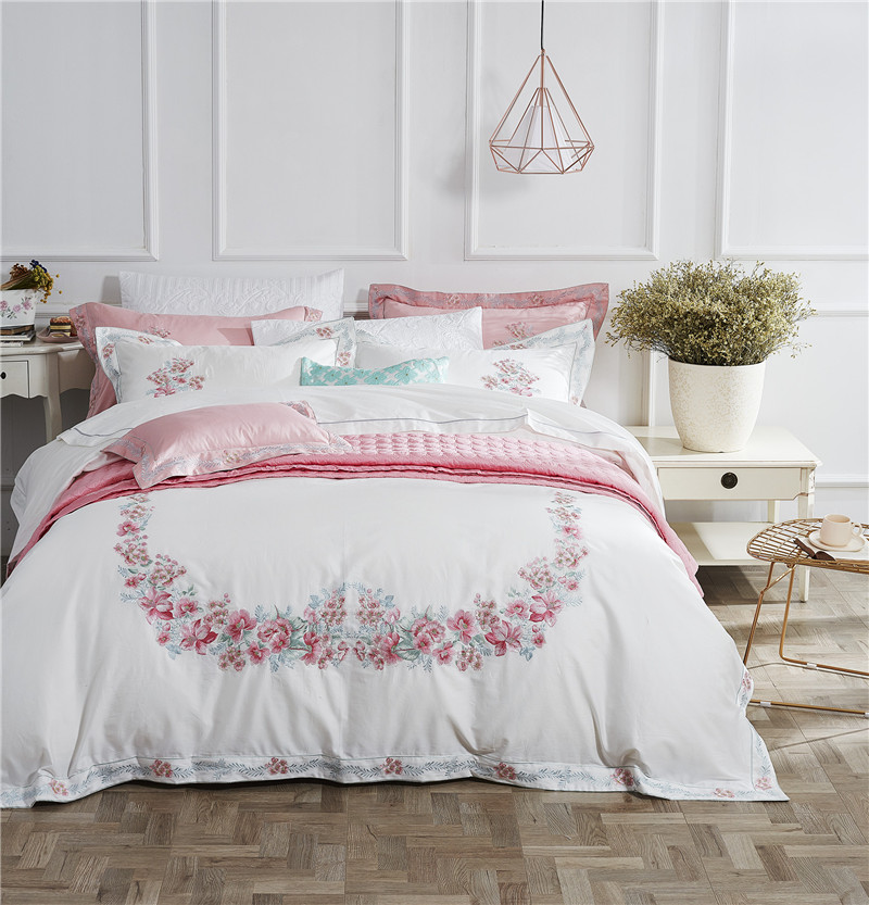 Pink Rose Flowers Embroidery White Egyptian Cotton Bedding Set Blossom Bedding Set Duvet Cover Bed Sheet King Queen Size 4Pcs
