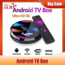 Caixa superior ajustada do andróide 9 do jogador dos meios do youtube de 32g 64g 9.0g com wifi bt4.0 caixa esperta da tevê de h96 x3 máximo android 128 ultra hd 8k 4g-