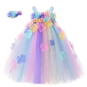 Kwiat dziewczyna ślubna tutu sukienka letnia księżniczka dziewczyny wróżka urodziny rekwiztyty do zdjęć z imprezy sukienki z pałąkiem na głowę dla 12M 2t 3t 4t 5t