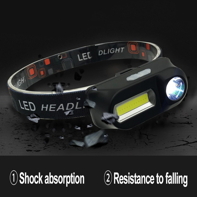 LED Headlamp Q5+COB Double switch Portable mini heading light 3 modes built-in USB Rechargeable battery headlight night fishing 3