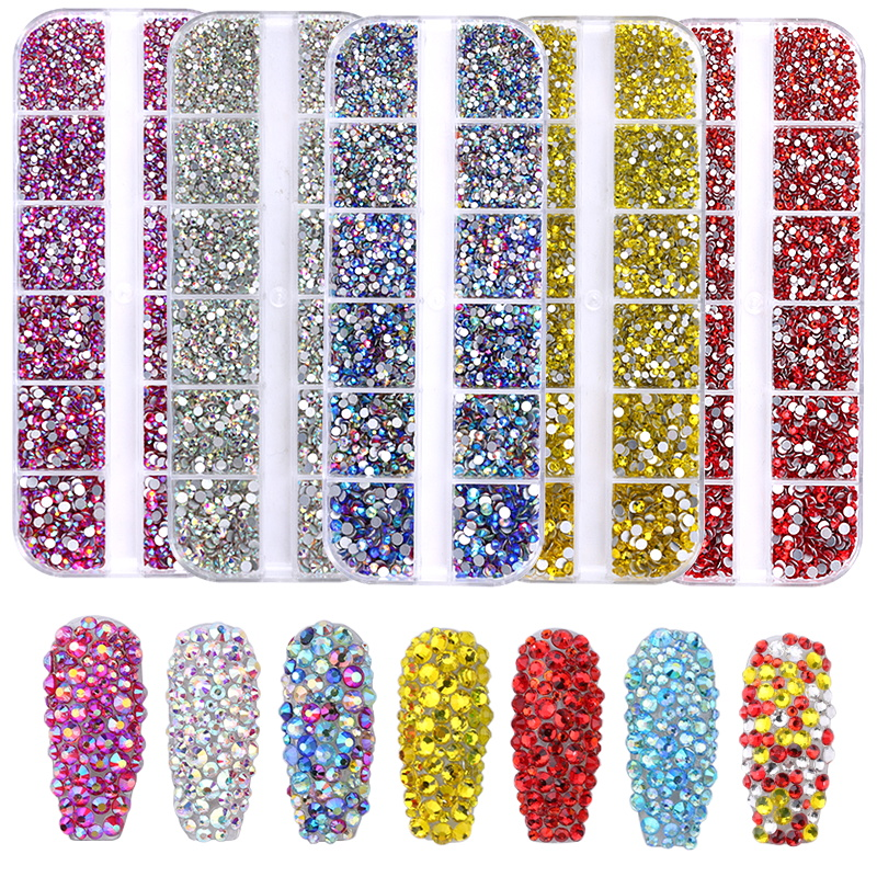 3456pcs/box Multi-size Nails Art Rhinestone For Nails Art Decorations Crystals Strass Charms Partition Mixed Size Rhinestone Set