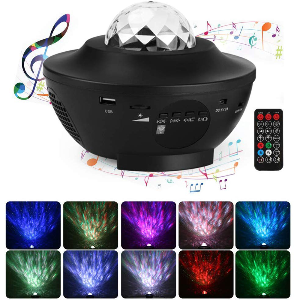 Star Night Light Romantic Ocean Wave Star Sea Projector Lamp with Remote Control Timer and Bluetooth Music Speaker for Baby Kids