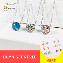 Fashion 925 silver & Rose Gold Color retro Compass with Blue/Pink/White Opal stone Pendant Necklace Women Clavicle Chain Choker