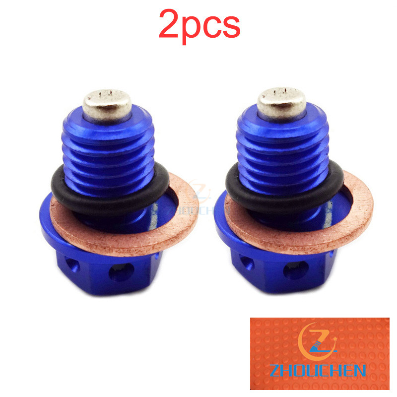 2x Blue <font><b>Engine</b></font> Magnetic Oil Drain Bolt Plug For 50cc 90cc 110cc 125cc 140cc 150cc <font><b>160cc</b></font> <font><b>Lifan</b></font> YX Zongshen Pit Dirt Bike ATV Quad image