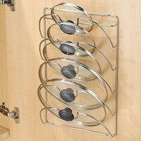 Newly Iron Pan Lid Storage Rack Multi Layers Wall Mount Pot Cover Organizer Holder Kitchen Accessories VA88