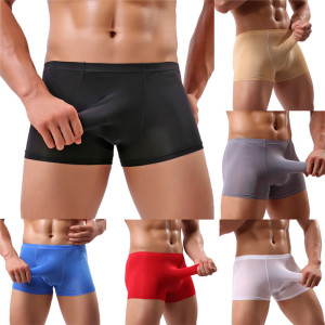 Mens Elephant Underwear Boxer Underpants Bulge Pouch Solid Panties Ice Silk Lingerie Shorts Sexy Underpants Boxer Mens Dropship