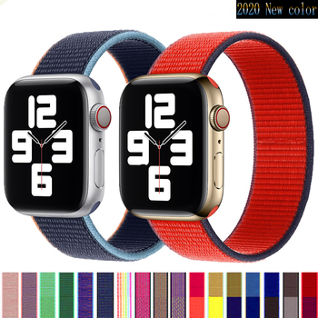 sport strap for apple watch band 44mm 40mm 42mm 38mm silicone bracelet smart wristband correa for iwatch series 6 5 4 3 2 1 se Sport Strap for Apple Watch band 44mm 40mm 42mm 38mm  Nylon loop wristband bracelet correa for iWatch series 6 5 4 3 SE