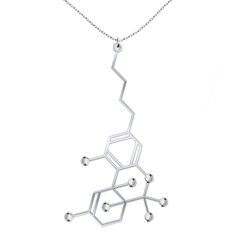 TGBJE THC Molecule Necklace CBD Molecule Necklace Pot Lovers Gift Cannabis Molecule Gift 420 Science Gift Chemistry Gift