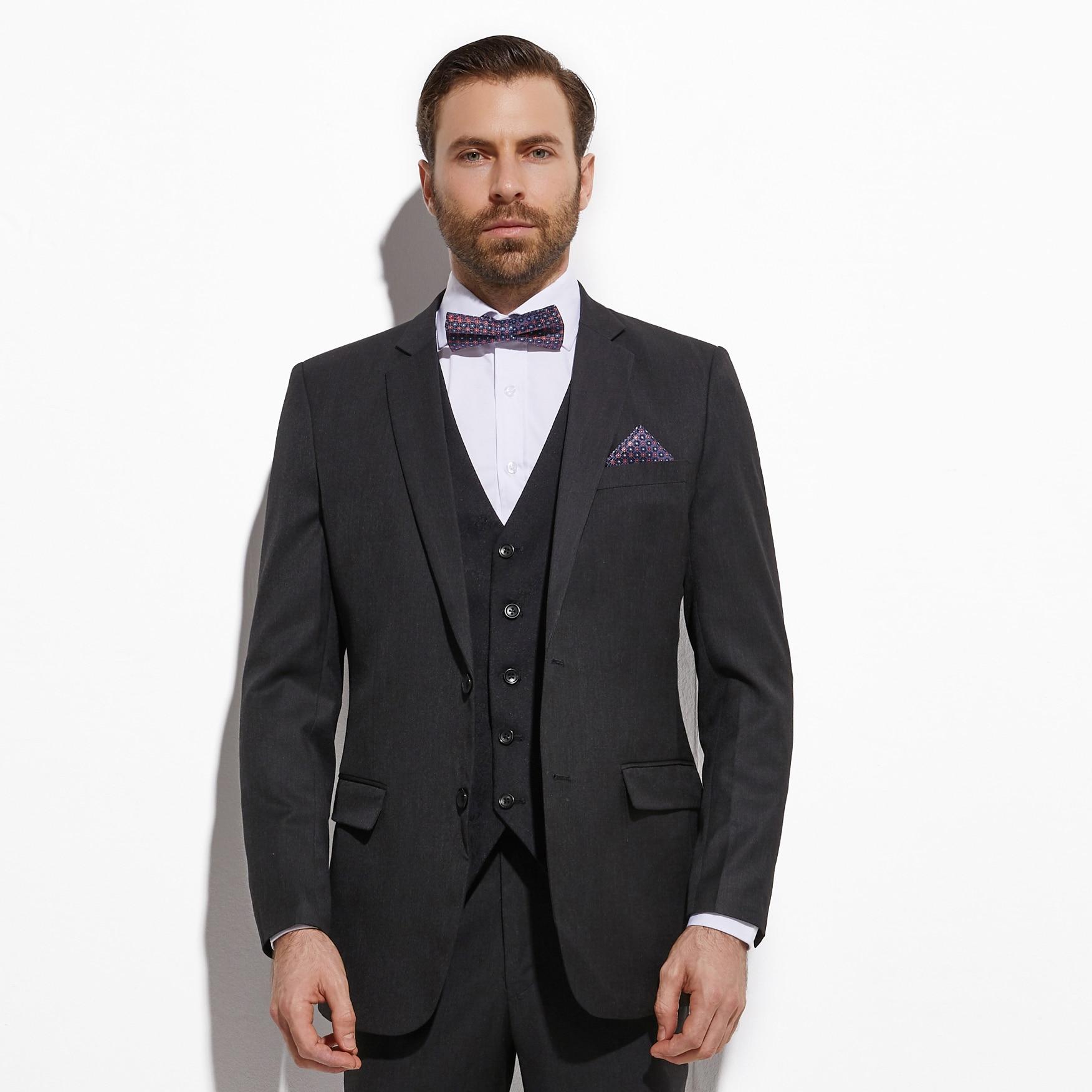 2020 Slim Fit Dark Charcoal Grey Groom Suit With Jacquard Vest Custom Made 3 piece Wedding Suits For Men  Wedding Groom Tuxedo 1