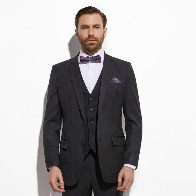 Traje de novio de 3 piezas con chaleco Jacquard, traje de novio de color Gris Carbón oscuro, traje de boda para hombre, esmoquin para novio de boda, 2020
