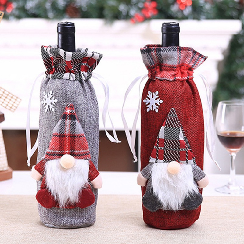 Drawstring Decorative Wine Bottle Covers Treat Bags Christmas Holiday Dining Table Home Party Decor Supplies
