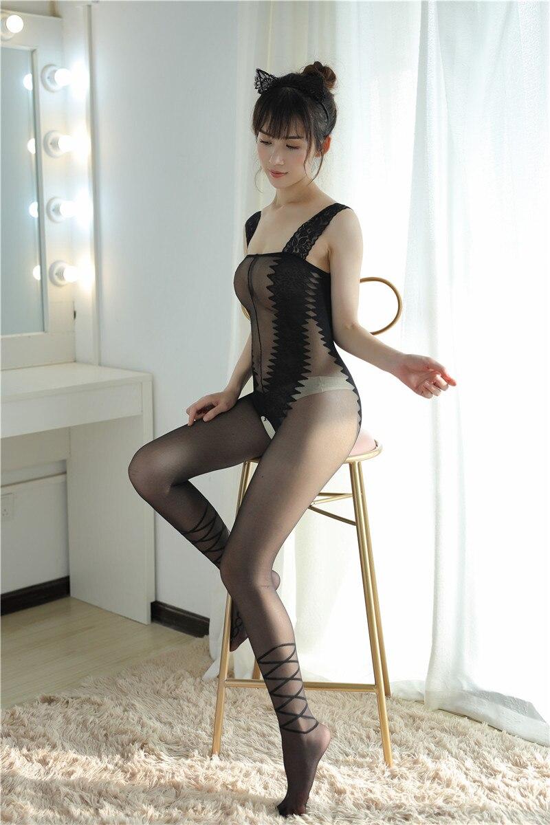 Hf3cfa6a2272144c999190a08c29bd40f8 Lencería Sexy íntima para mujer, disfraces sexys de osito, kimono porno, mono de manguera, ropa interior, medias elásticas de malla de color negro ajustado