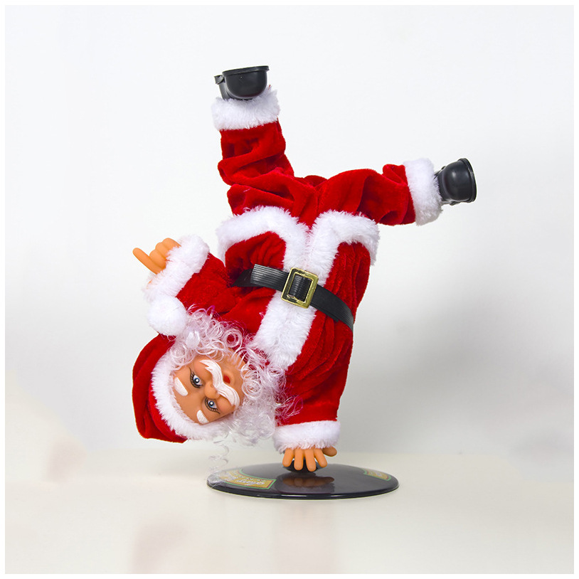 Santa Claus New Christmas Decorations Electric Inverted Hip-hop Santa Claus With Music Christmas Children's Toys Ornaments