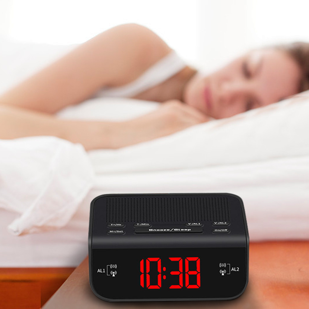 Alarm Clock Fm Radio With Dual Alarm Buzzer Snooze Sleep Function Led Time Cloc Часы Настольные Будильник Alarm Clock Budzik(China)
