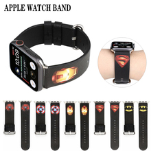 цена на Captain America Leather strap for apple watch band 40mm &for apple watch 4 44mm band bracelet for iwatch series 3 2 1 42mm 38mm