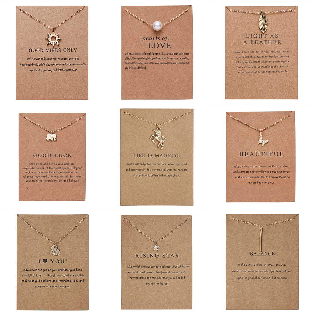 New Trendy Alloy Cute Elegant Sun Star Leaves Bird Butterfly Heart Luck Pendant Necklaces for Women Fashion Accessories Jewelry