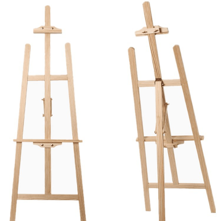 Art Supplies 1.5m Import Yellow Pine Wood Easel Set Sketchpad Easel 3-Foot Linyi Manufacturers Wholesale