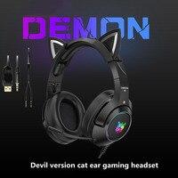 Auriculares K9 versión demonio para videojuegos, cascos Oreja de Gato con micrófono RGB, luminosos, con reducción de ruido para ordenador y teléfono móvil