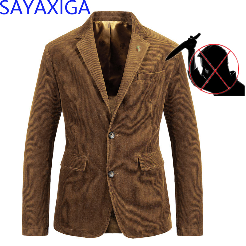 New Self Defense Tactical Gear Stealth Anti Cut Blazer Knife Cut Resistant Jacket Stab Proof Clothing Cutfree Corduroy Blazer4XL