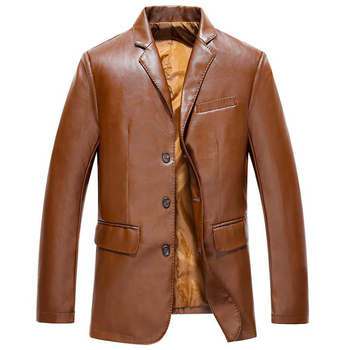 European Style Mens Dress Suit Leather Coat Jackets Business Pure Fashion PU Overcoats Male Leather Jacket 3XL Overcoats A516