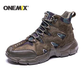 ONEMIX nowych mężczyzna buty górskie Camping buty taktyczne mężczyźni śnieg buty mężczyźni buty do wspinaczki męskie buty wojskowe mężczyźni buty motocyklowe mężczyźni tanie i dobre opinie RUBBER Lace-up Prawdziwej skóry Pasuje prawda na wymiar weź swój normalny rozmiar Spring2019 Cotton Fabric Profesjonalne