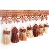6m / Lot Tassel Pearl Lobbing Fringe Applique Ball Curtain Accessories Lace Trim Diy Decoration Fabric Home Textile Decor