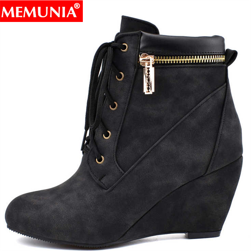 MEMUNIA Wedges Boots Lace-Up Casual-Shoes High-Heels Zip-Fashion Women Ladies Round-Toe