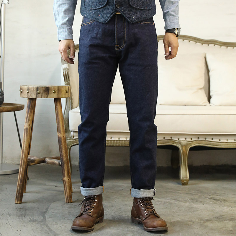 GT-0003 Read Description! Raw Indigo Selvage Washed Denim Slim Fitting Pants Sanforized Raw Denim Jean 12oz
