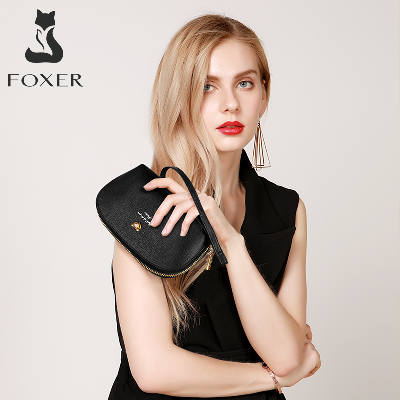 Foxer Licy Women's Genuine Leather Wallet Black