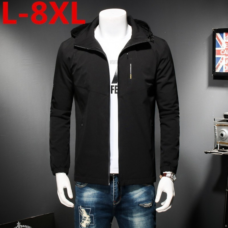Plus Size 8XL 7XL 6XL  New Winter Men's Jacket With High Quality Fabric Detachable Hat For Male's Warm Coat Simple Mens Coat
