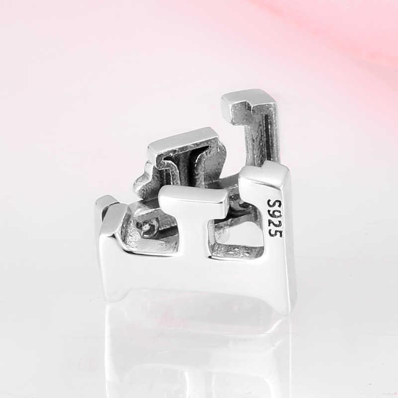 Original 100% 925 Sterling Silber Clip Bead Bow Brief F Charms Alphabet Klar CZ Fit Reflexion Armbänder Frauen DIY Schmuck