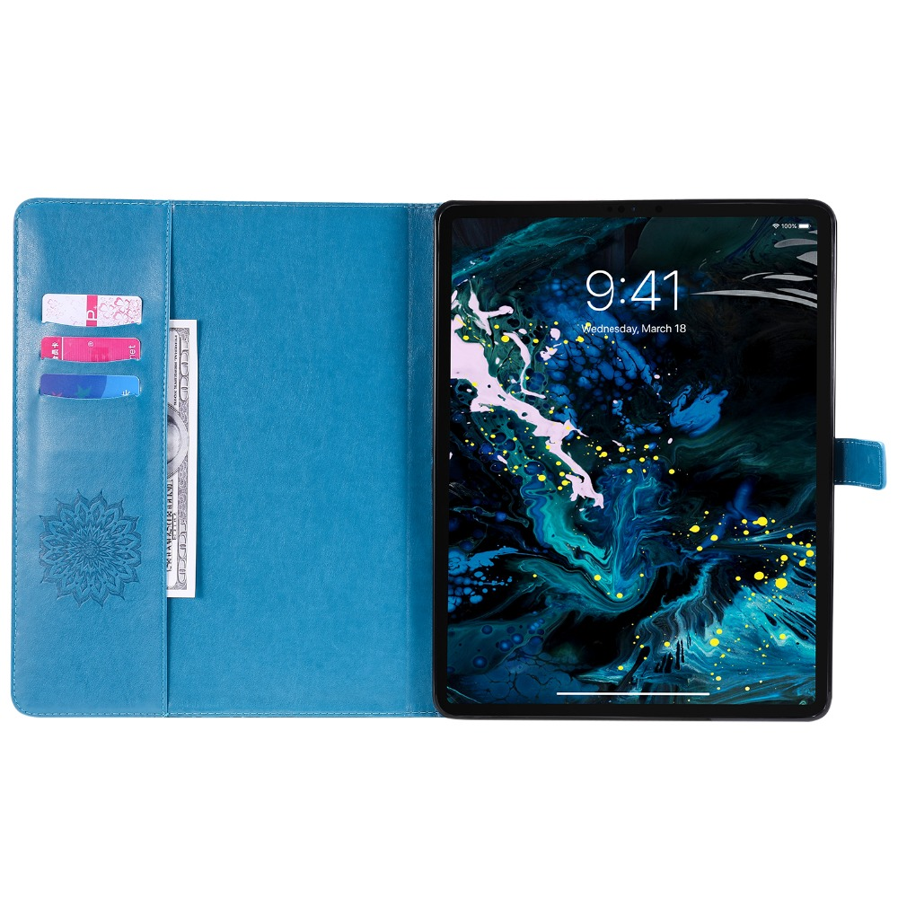 Case 3D Flower Leather for Pro Cover Skin 12 Shell 2020 Protective Embossed 9 iPad